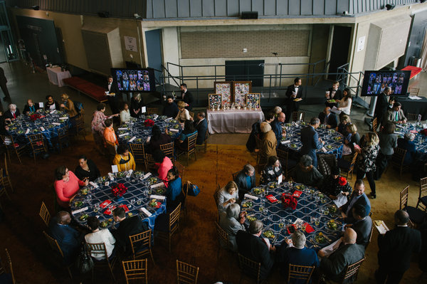 Tables are set for Arena Stage at the Mead Center for American Theater's Power Lunch on February 27, 2017.
