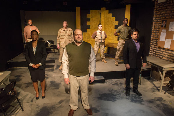 (front row) Shariba Rivers as Dr. O'Brien, Steve Silver as Ayyub, Sunny Anam as Abdul Walli; (back row) Robert Hardaway as Lt. Milo, Tony St. Clair as Col. Lewis, Hannah Tarr as Sgt. Lindsey and David Goodloe as Pvt. Michaels
