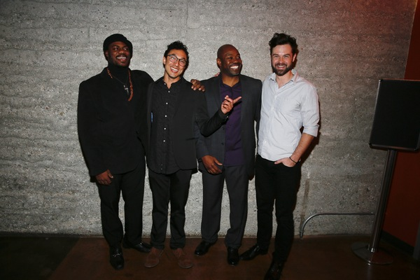 """From left, cast members Marcus Henderson, Wade Allain-Marcus, Dayo Ade and Mark Jude Sullivan pose during the party for the opening night performance of """"Good Grief"""" at Center Theatre Group's Kirk Douglas Theatre on Sunday, March 5, 2017, in Culver City,"""
