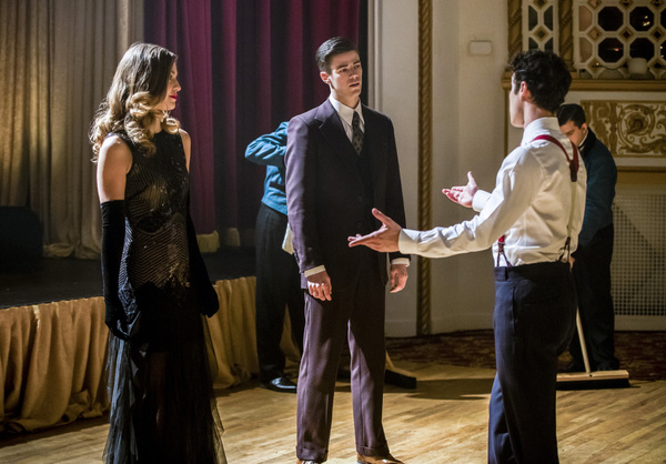 Pictured (L-R): Melissa Benoist as Kara, Grant Gustin as Barry Allen and Darren Criss as Music Meister -- Photo: Jack Rowand/The CW