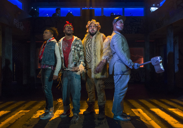 (left to right) Sydney Charles, Gilbert Domally, Chuckie Benson and Steven Perkins in Kokandy Productions' revival of THE WIZ, directed by Lili-Anne Brown with music direction by Jimmy Morehead. Photo by Michael Brosilow.