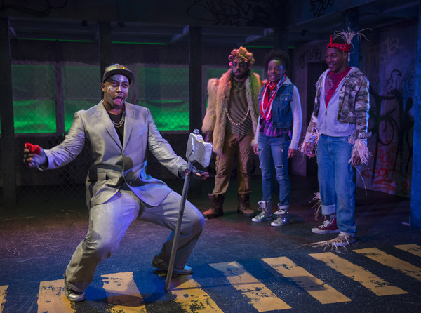 (left to right) Steven Perkins, Chuckie Benson, Sydney Charles and Gilbert Domally in Kokandy Productions' revival of THE WIZ, directed by Lili-Anne Brown with music direction by Jimmy Morehead. Photo by Michael Brosilow.