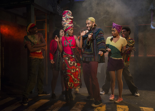 (front center) Angela Alise and Desmond Gray with (back, l to r) TJ Crawford, Anna Dauzvardis, Tia L. Pinson and Breon Arzell in Kokandy Productions' revival of THE WIZ, directed by Lili-Anne Brown with music direction by Jimmy Morehead. Photo by Michae