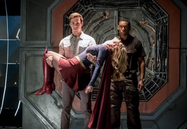 Chris Wood, Melissa Benoist and David Harewood Photo