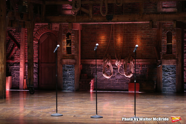 "Stage atmosphere before The Rockefeller Foundation and The Gilder Lehrman Institute of American History sponsored High School student #EduHam matinee performance of ""Hamilton"" at the Richard Rodgers Theatre on 3/15/2017 in New York City."