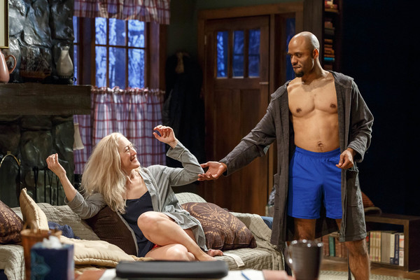 Darian Dauchan and LeeAnne Hutchison in Kitchen Theatre Company's production of Sex With Strangers by Laura Eason. Photo by Dave Burbank.