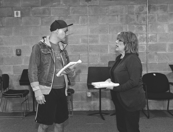 Alex Heika and Sara Shelby-Martin in rehearsal for Parade at WaterTower Theatre
