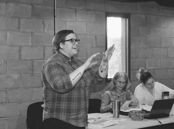 Director Kelsey Leigh Ervi in rehearsal for Parade at WaterTower Theatre