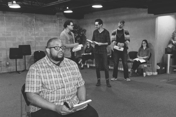 Jeremy Davis, Justin Alexander Duncan, Seth Womack and Luke Longacre in rehearsal for Parade at WaterTower Theatre
