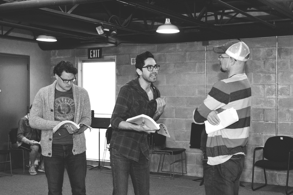 Justin Alexander Duncan, Seth Womack and Luke Longacre in rehearsal for Parade at WaterTower Theatre