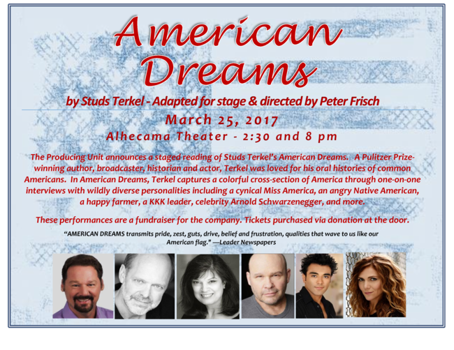 BWW Preview: The Producing Unit Presents a Staged Reading Of AMERICAN DREAMS at The Alhecama Theater