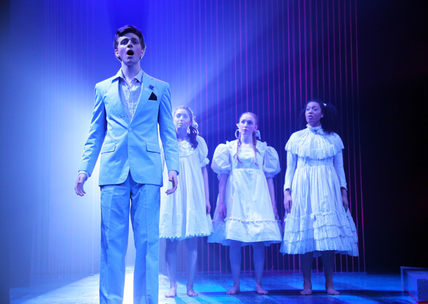 """L to R: Zack Dicktakis (Orpheus), Jenn Sapoznikov, Kristen Wolf, Vivienne James (Chorus of Stones) in """"Eurydice� by Sarah Ruhl onstage in Connecticut Repertory Theatre's Studio Theatre through April 2, 2017.  Info at crt.uconn.edu.  Photo by Gerry G"""