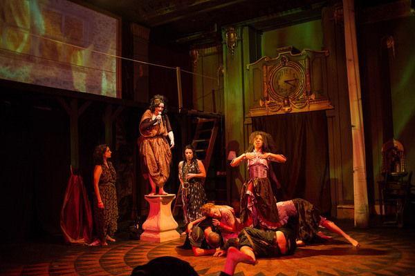 (left to right) Lucía Mier y Terán Romero, Ruth Margraff, Anita Darwish, Cooper Forsman, Kelsey Shipley, Nigel Brown, Emma Ladji and McCambridge Dowd-Whipple in Red Tape Theatre and Walkabout Theater Company's world premiere co-production of MOTHER OF