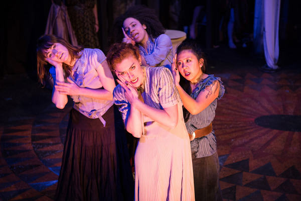 (front) Kelsey Shipley with (back, l to r) McCambridge Dowd-Whipple, Emma Ladji and Stephanie Shum in Red Tape Theatre and Walkabout Theater Company's world premiere co-production of MOTHER OF SMOKE. Photo by Austin D. Oie.