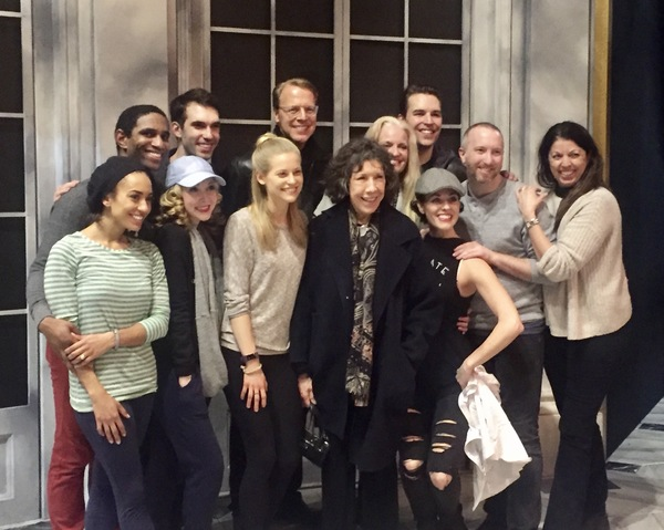 Members of the Anastasia company with Lily Tomlin
