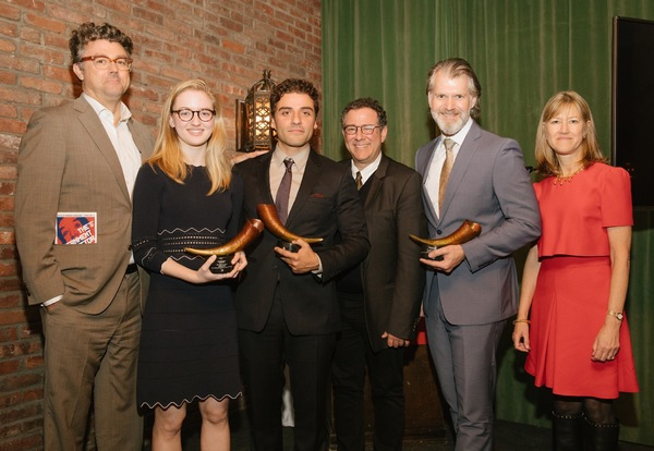 Michael Sexton, Olivia Reis, Oscar Isaac, Michael Greif, George Forbes, and Gretchen Shugart