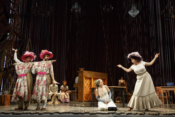 """Anthony Chatmon II as Lucinda, Darick Pead as Florinda, Laurie Veldheer as Cinderella and Bonne Kramer as Cinderella's Stepmother in the Fiasco Theater production of �""""Into the Woods,"""" which plays April 4 through May 14, 2017, at Center Theatre Group"""