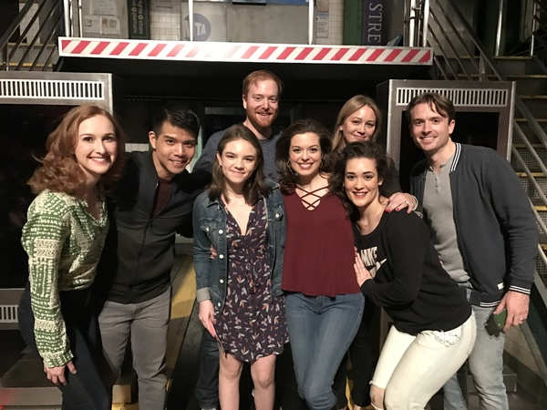 Ella Olivia Stiller and Christine Taylor (center) with the cast of IN TRANSIT