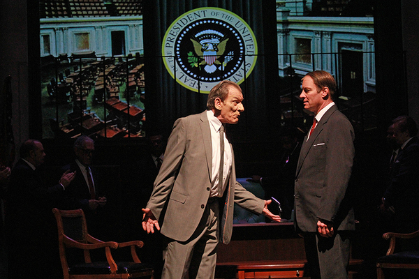 J. Kenneth Campell as President Lyndon B. Johnson and Tom Wahl as Hubert Humphrey