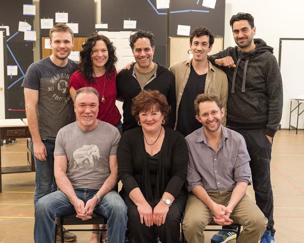 (top row) Cast member Josiah Bania, director Giovanna Sardelli, playwright Rajiv Joseph and cast members Stephen Stocking and Ramiz Monsef; (bottom row) cast members Patrick Page, Stephanie McVay and Todd Weeks