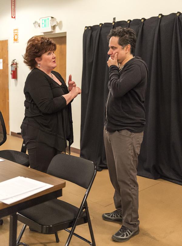 Cast member Stephanie McVay and playwright Rajiv Joseph