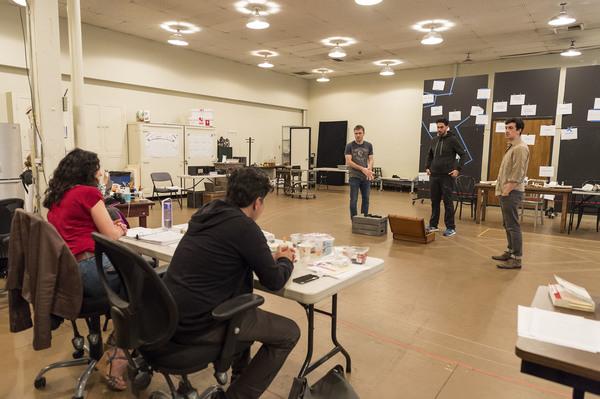 Director Giovanna Sardelli, playwright Rajiv Joseph and cast members Josiah Bania, Ramiz Monsef and Stephen Stocking