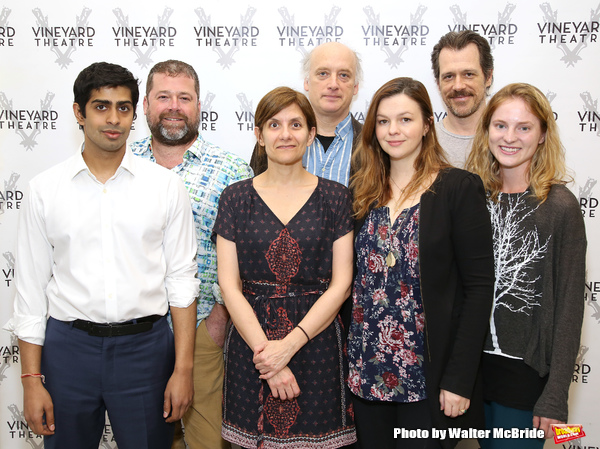Eshan Bay, director Peter DuBois, playwright Gina Gionfriddo, Frank Wood, Amber Tamblyn, Darren Pettie, and Ella Dershowitz