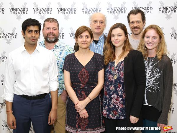 Eshan Bay, director Peter DuBois, playwright Gina Gionfriddo, Frank Wood, Amber Tamblyn, Darren Pettie, and Ella Dershowitz