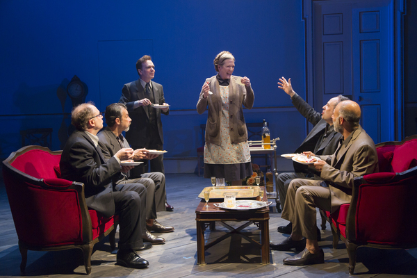 Oslo Production Photo - Henny Russel (center) with Daniel Jenkins, Dariush Kashani, Jefferson Mays, Daniel Oreskes, and Anthony Azizi