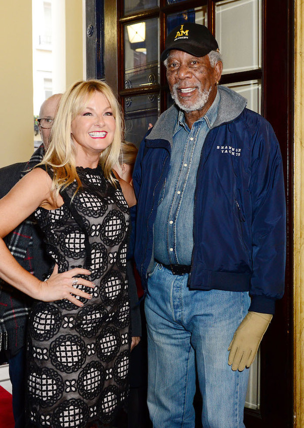 Sarah Hadland and Morgan Freeman