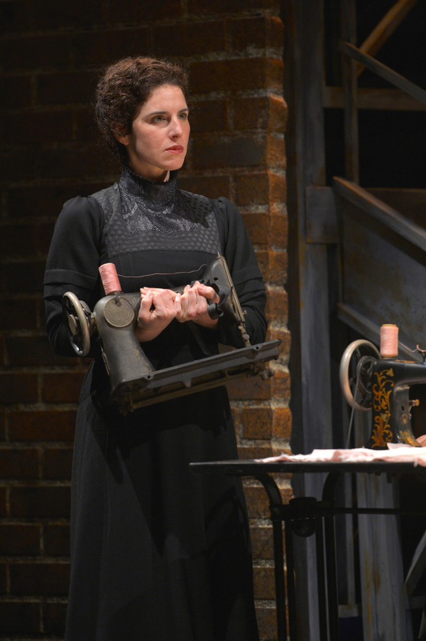 Frustrated from her time in the sweatshop Rebecca (Kyra Miller) takes her sewing machine in TheatreWorks Silicon Valley's Rags, a musical saga of immigrant America. Rags is presented at the Mountain View Center for the Performing Arts April now through 30