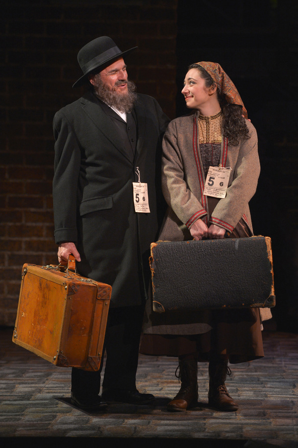 From L-R: Avram (Donald Corren) and his daughter Bella (Julie Benko) arrive in the United States in TheatreWorks Silicon Valley's Rags, a musical saga of immigrant America. Rags is presented at the Mountain View Center for the Performing Arts April now th