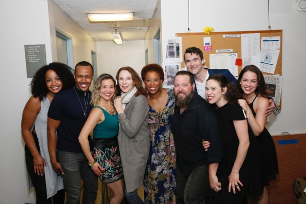 The cast poses backstage with actor Gates McFadden (center) after the opening night performance of the Fiasco Theater production of INTO THE WOODS at Center Theatre Group/Ahmanson Theatre.