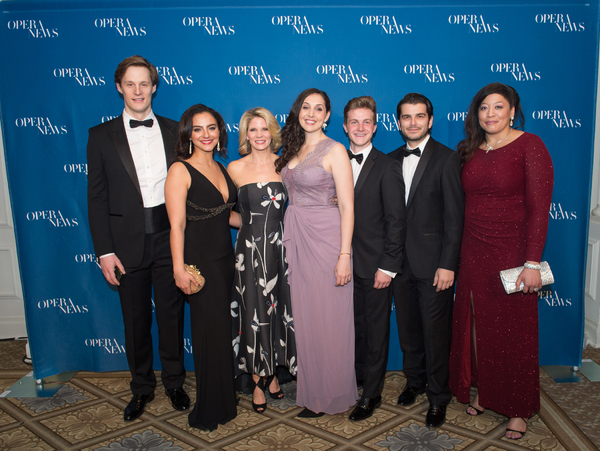 Sava Vemia, Rihab Chaieb, Clarissa Lyons, Petr Nekoranec, Giuseppe Mentuccia and Michelle Bradley with Kelli O'Hara