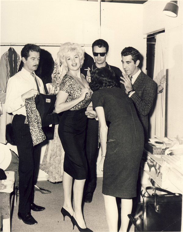 Mr. Blackwell and Robert Spencer fitting with client, Jayne Mansfield