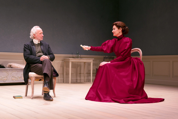 "South Coast Repertory presents the world premiere of ""A Doll's House, Part 2� by Lucas Hnath, directed by Shelley Butler. Cast: Shannon Cochran (Nora), Bill Geisslinger (Torvald), Lynn Pilgrim (Anne Marie) and Virginia Vale (Emmy).  Julianne Argyros"