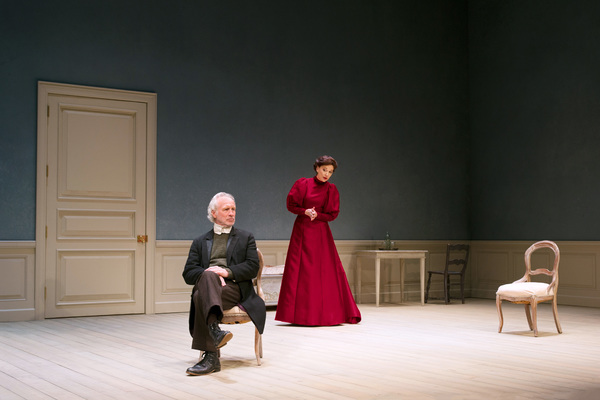 """South Coast Repertory presents the world premiere of """"A Doll's House, Part 2� by Lucas Hnath, directed by Shelley Butler. Cast: Shannon Cochran (Nora), Bill Geisslinger (Torvald), Lynn Pilgrim (Anne Marie) and Virginia Vale (Emmy).  Julianne Argyros"""