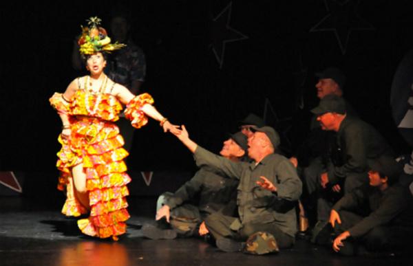 Reagle Music Theatre recreates a WWII U.S.O. show featuring Carmen Miranda performing Photo