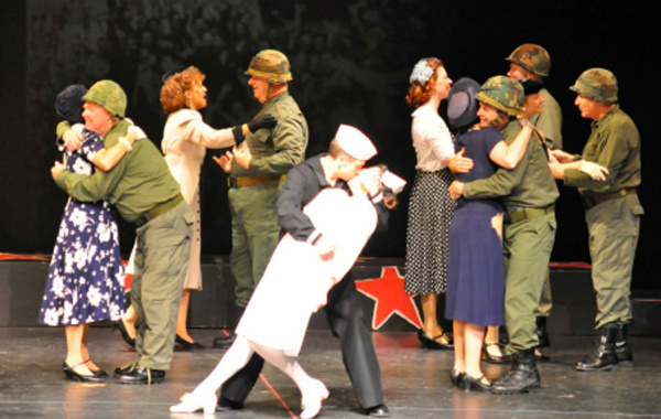 The Kiss recreated by the Remembering the 40s cast of Reagle Music Theatre.  (C) Herb Photo