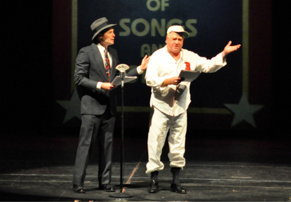 Reagle recreates the Rexall Radio Hour featuring Bud Abbott and Lou Costello's Who'se On First? routine.  (C) Herb Philpott