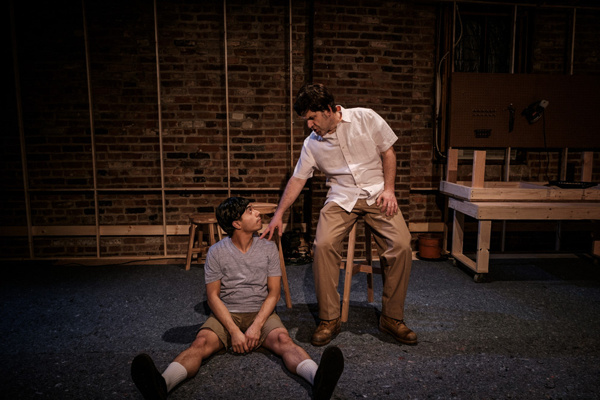L-R: Fernando Gonzalez and Mike Shapiro in CHARLESES by Carl Holder, directed by Meghan Finn, at produced by The Tank at The Brick. Photo by Josh Luxenberg