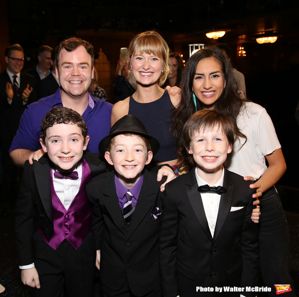 Cast members making their Broadway debut: Elliott Mattox, Amy Quanbeck, Yesenia Ayala, Ryan Sell, Ryan Foust and Jake Ryan Flynn during the Actors' Equity Gypsy Robe Ceremony honoring Katie Webber for  'Charlie and the Chocolate Factory' at the Lunt-Fonta