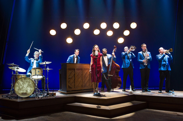 Joe Carroll, Corey Cott, Laura Osnes, Brandon J. Ellis, Geoff Packard, James Nathan Hopkins and Alex Bender. Photo Credit: Jeremy Daniel