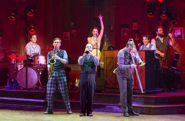 Joe Carroll, James Nathan Hopkins, Alex Bender, Laura Osnes, Geoff Packard, Corey Cott and Brandon J. Ellis. Photo Credit: Jeremy Daniel
