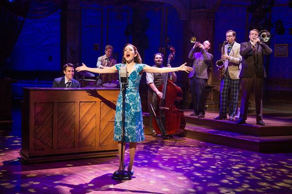 Corey Cott, Joe Carroll, Laura Osnes, Brandon J. Ellis, Alex Bender, James Nathan Hopkins and Geoff Packard. Photo Credit: Jeremy Daniel