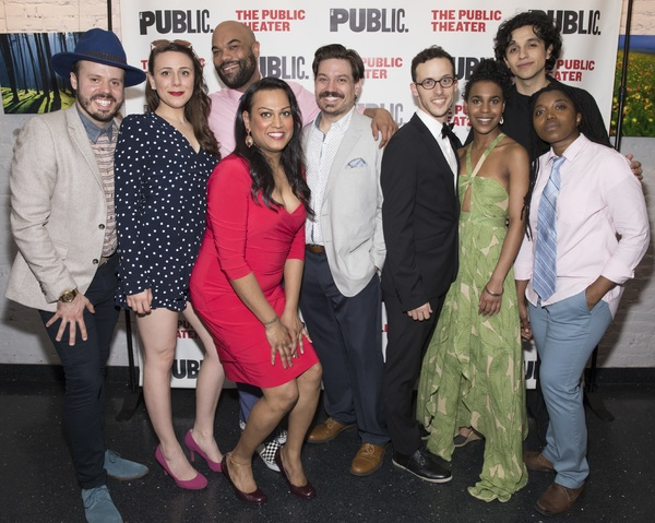 The company of The Public Theater's Mobile Unit production of TWELFTH NIGHT at the opening night celebration on April 27.