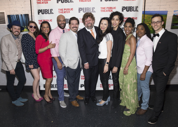 The company of The Public Theater's 60th anniversary Mobile Unit production of TWELFTH NIGHT with Public Theater Artistic Director Oskar Eustis, and The Public's Director of Special Artistic Projects Stephanie Ybarra