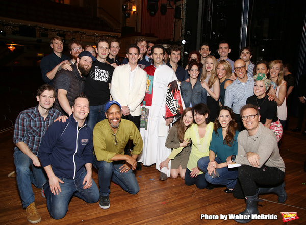 Andy Blankenbuehler, Corey Cott, Laura Osnes, Beth Leavel and Kevin Worley with cast