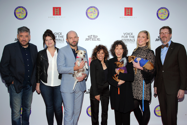 Comedians Craig Ferguson, Casey Wilson, Paul Scheer, Lily Tomlin and June Diane Raphael with VFTA Executive Director Melya Kaplan and Honeysweet Creative's Erick Weiss and adoptable dogs from West Los Angeles Animal Shelter.