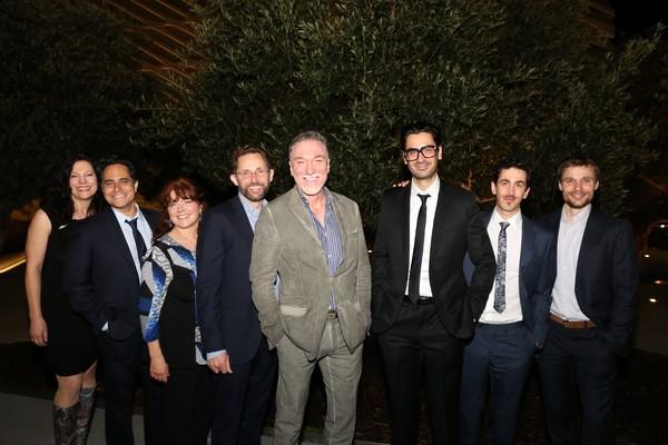 Director Giovanna Sardelli, playwright Rajiv Joseph, and cast members Joanne McGee, Todd Weeks, Patrick Page, Ramiz Monsef, Stephen Stocking and Josiah Bania
